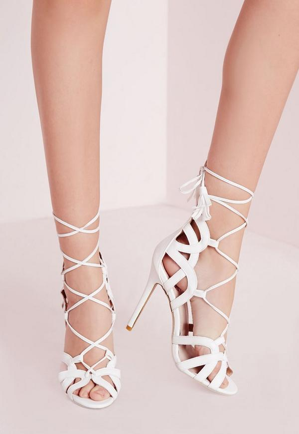 Tassel Trim Lace Up Gladiator Sandals White