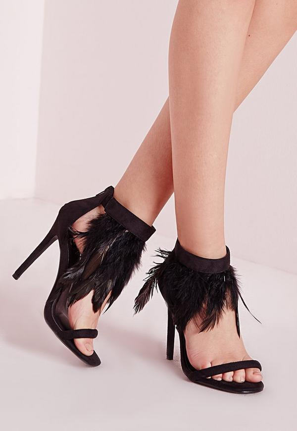Feather Strap Barely There Heeled Sandals