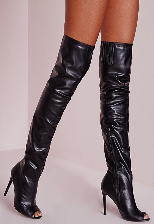 Peace + Love Over The Knee Faux Leather Peep Toe Boots Black