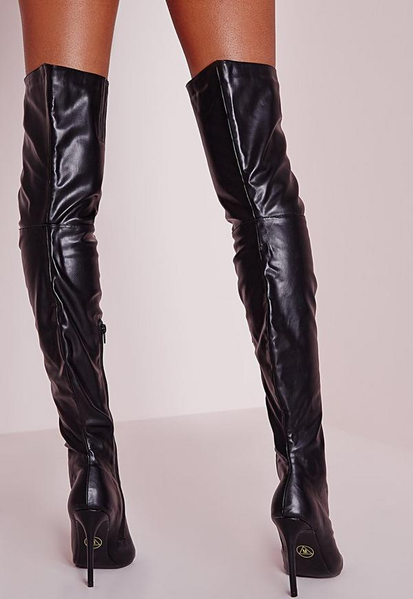 Peace   Love Over The Knee Faux Leather Peep Toe Boots Black ...