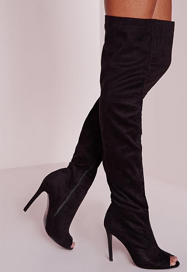 Peace   Love Over The Knee Peep Toe Boots Black - Boots - Footwear ...
