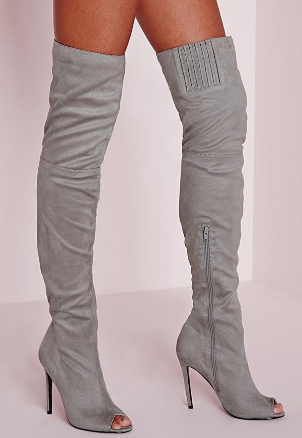 Over The Knee Peep Toe Boots Grey - Boots - Footwear - Missguided