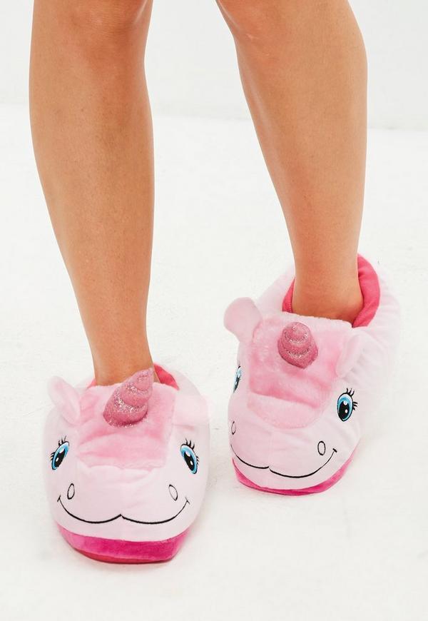 unicorn slippers pink missguided. Black Bedroom Furniture Sets. Home Design Ideas