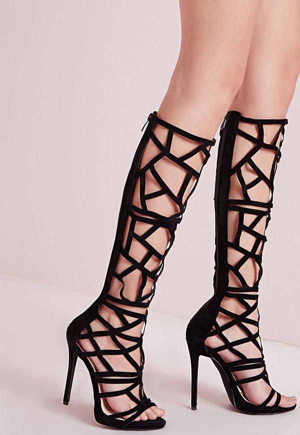 Laser Cut Knee High Heeled Sandals Black