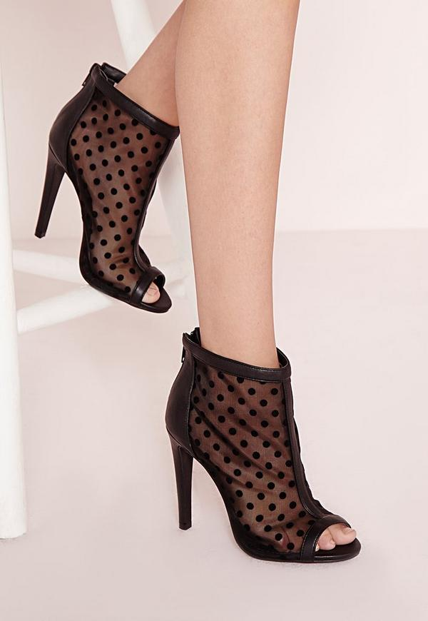 Polka Dot Peep Toe Heeled Boots
