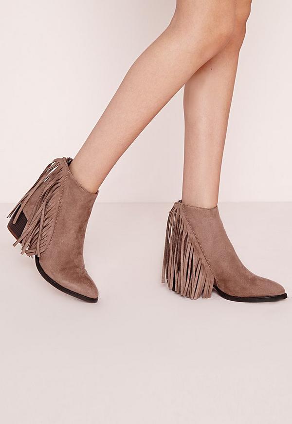 Fringe Ankle Boots Sand