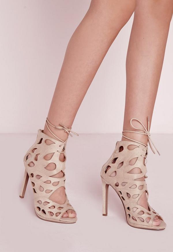 Laser Cut Heeled Sandals Cream