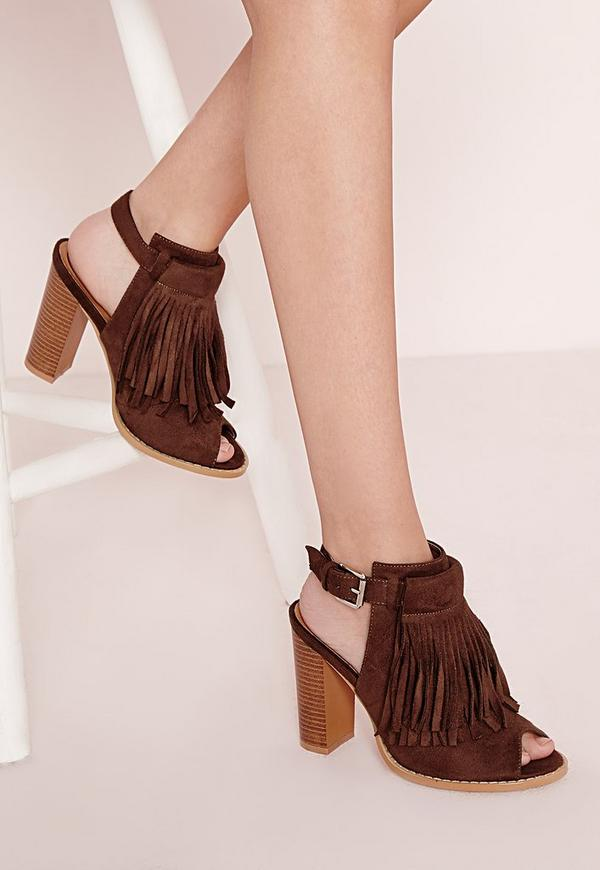 Tassel Front Ankle Boots Tan