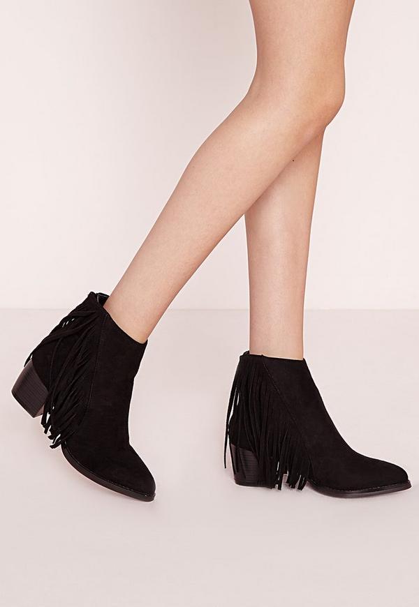 Fringe Ankle Boots Black