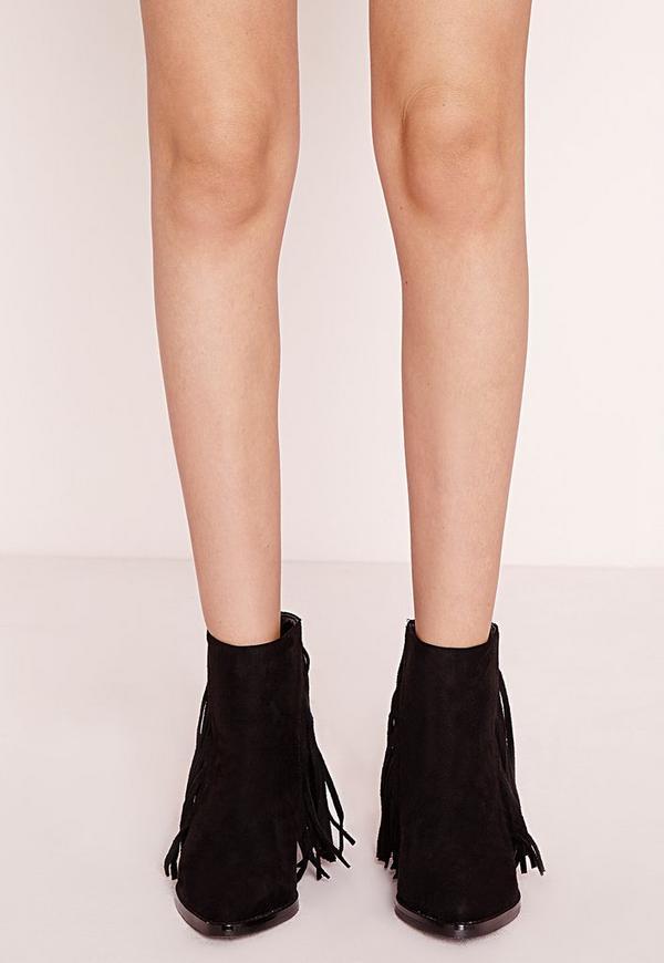 Fringe Ankle Boots Black | Missguided