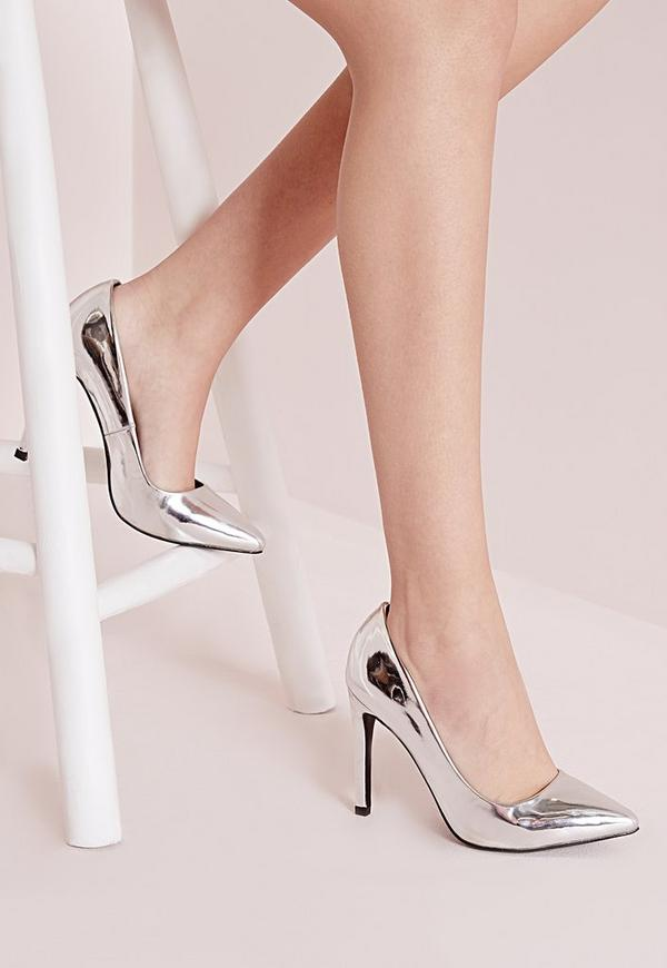 Metallic Court Shoes Silver