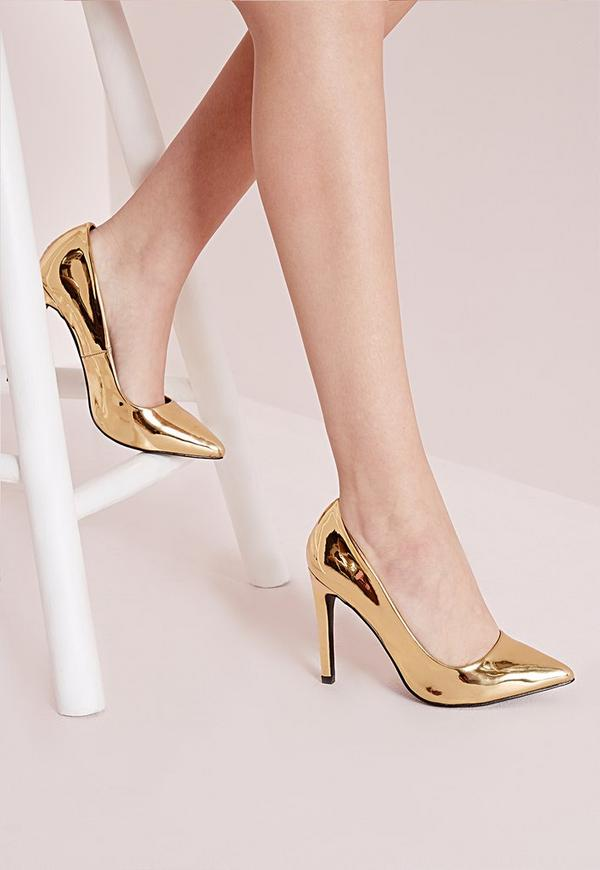 Metallic Court Shoes Gold