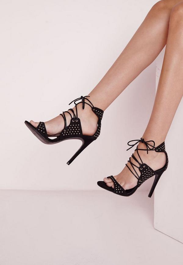 Stud Detail Lace Up Heeled Sandals Black