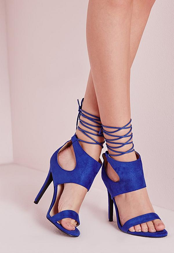 Ankle Cuff Barely There Heeled Sandals Cobalt Blue