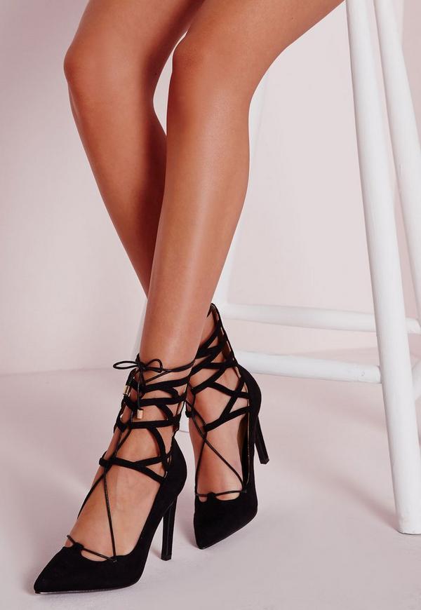 Lace Up Stiletto Heeled Shoes Black