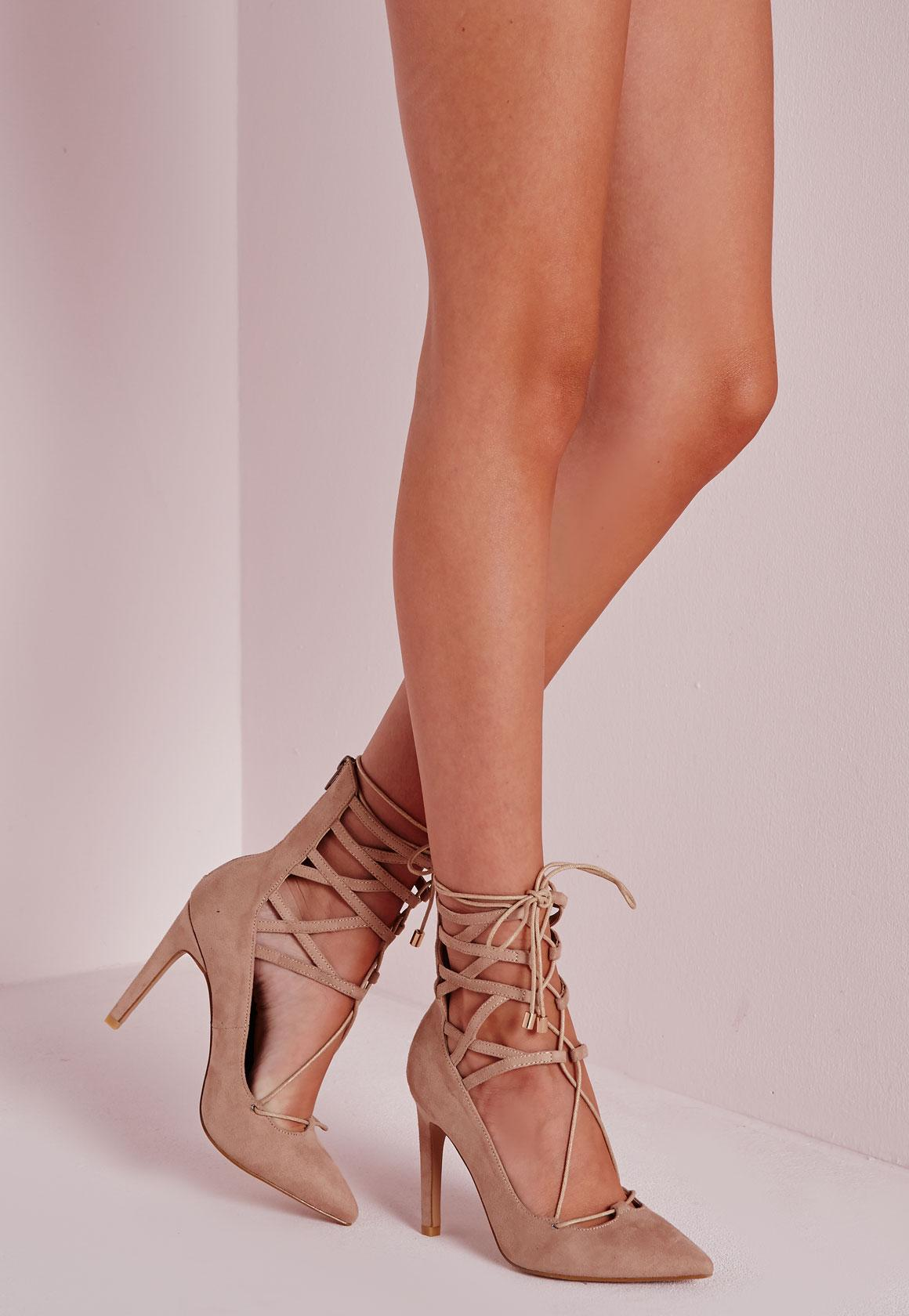 Lace Up Stiletto Heeled Shoes Nude | Missguided