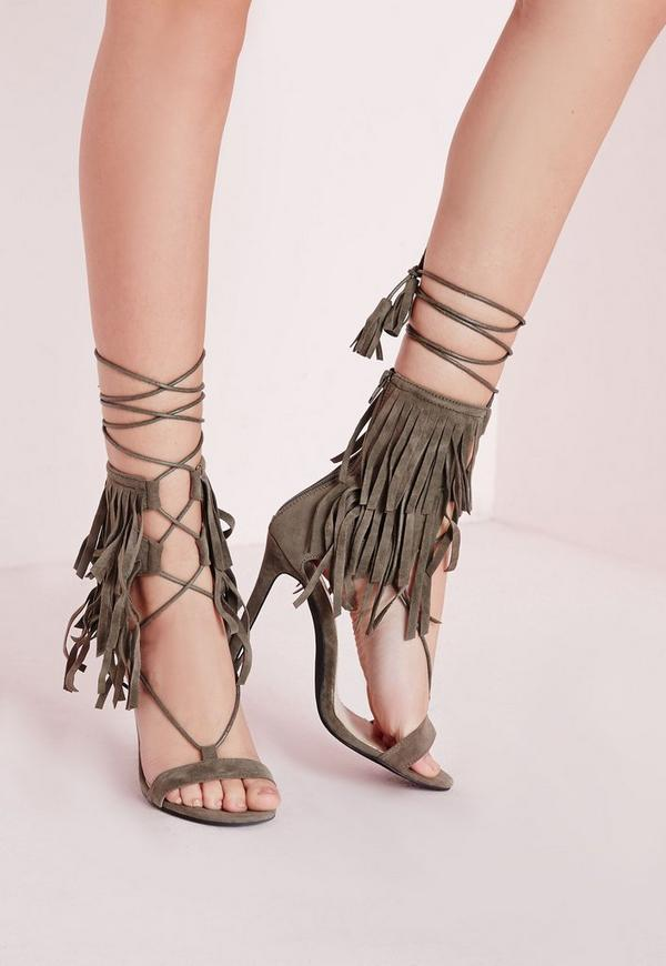 Fringe Strap Barely There Heeled Sandals Khaki