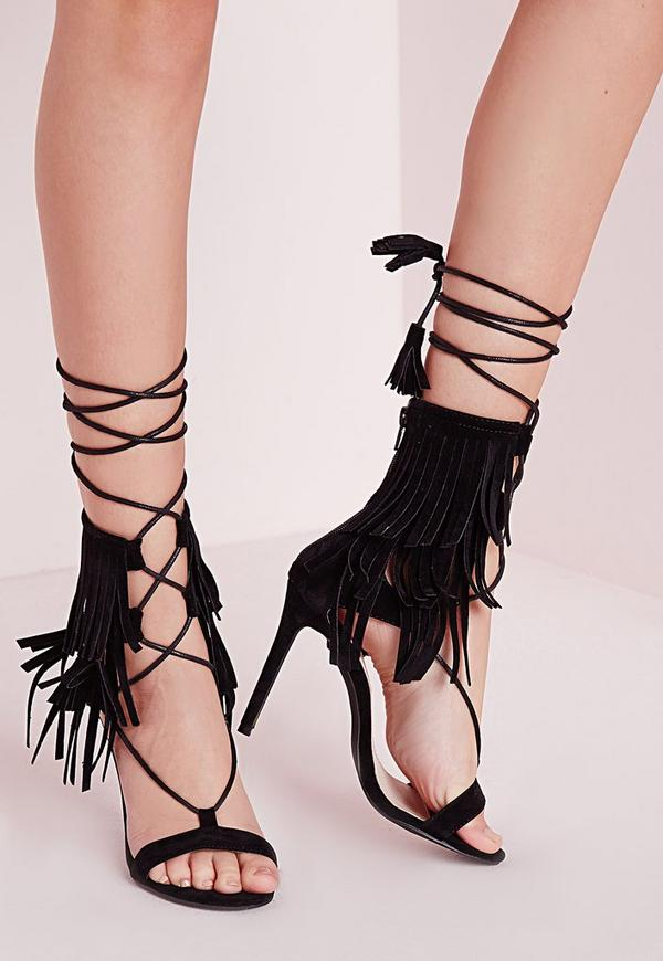 Fringe Strap Barely There Heeled Sandals Black