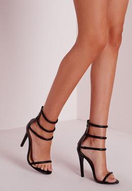 Black Four Strap Barely There Heels