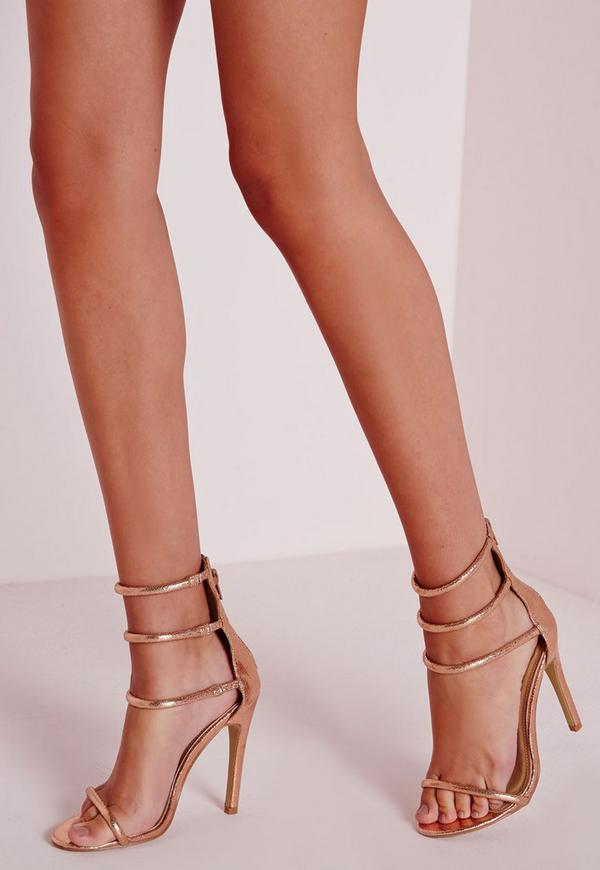Four Strap Barely There Sandals Rose Gold