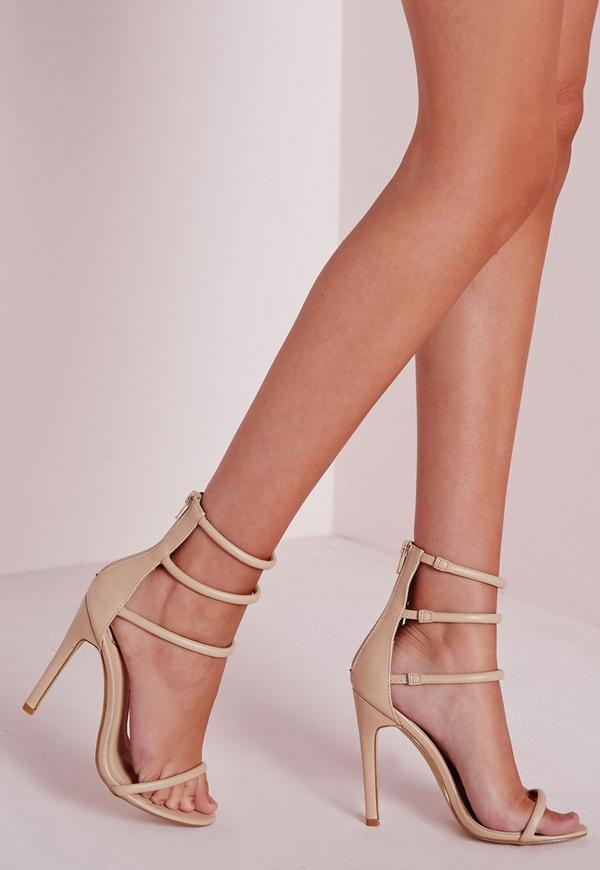 Four Strap Barely There Sandals Nude