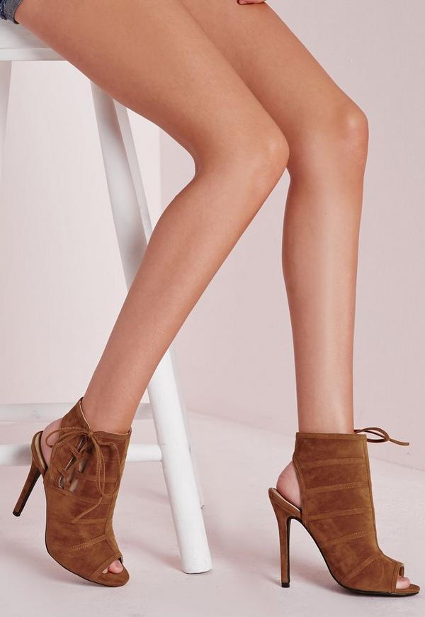 tie detail peep toe ankle boots tan