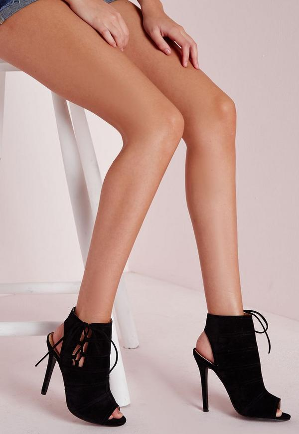 Tie Detail Peep Toe Ankle Boots Black