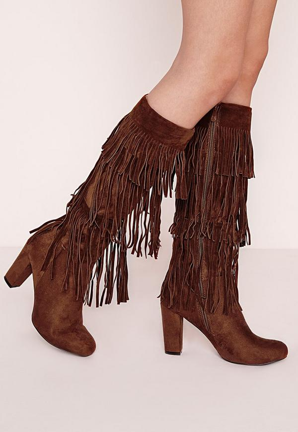 Fringed Knee High Heeled Boots Tan