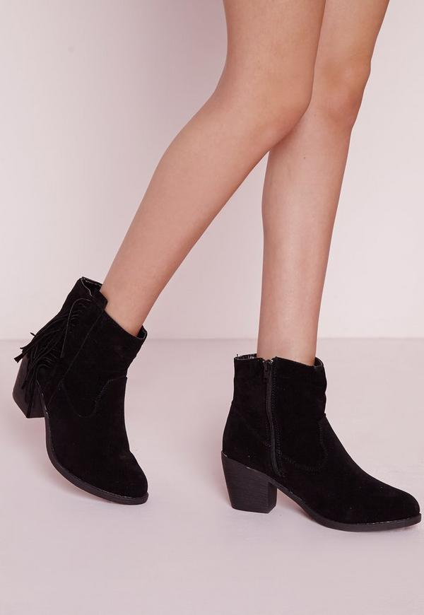 Fringe Side Western Ankle Boots Black