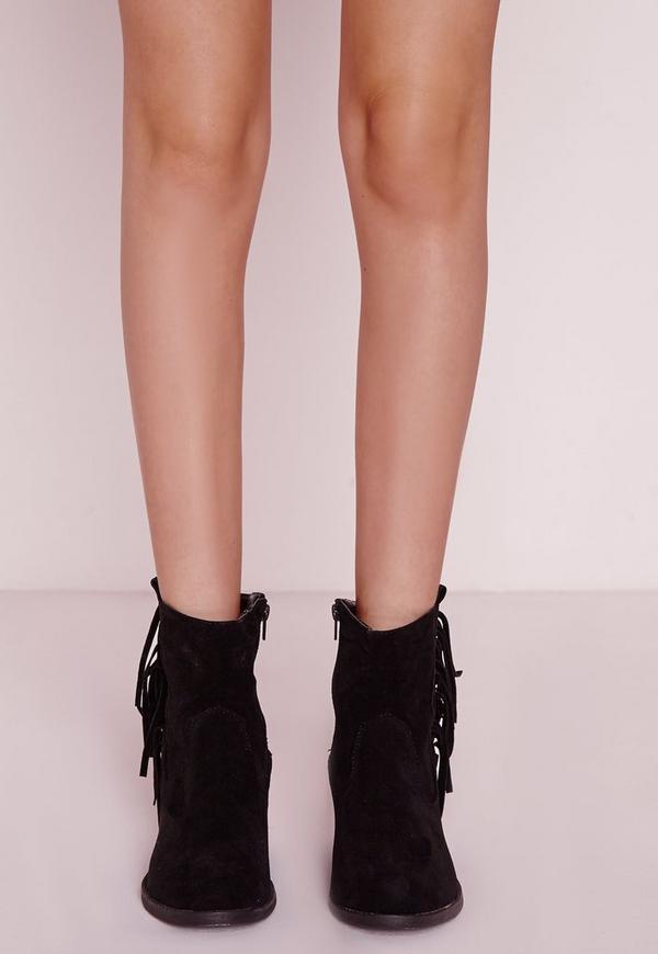 Fringe Side Western Ankle Boots Black | Missguided