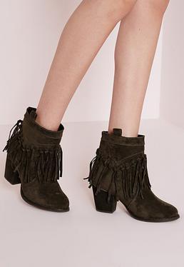 Fringe Detail Heeled Ankle Boots Khaki