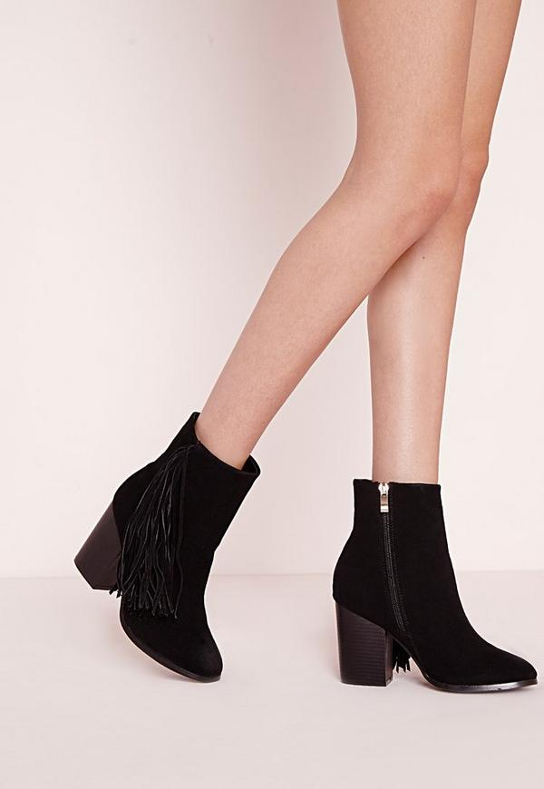 Tassel Side Ankle Boots Black Faux Suede