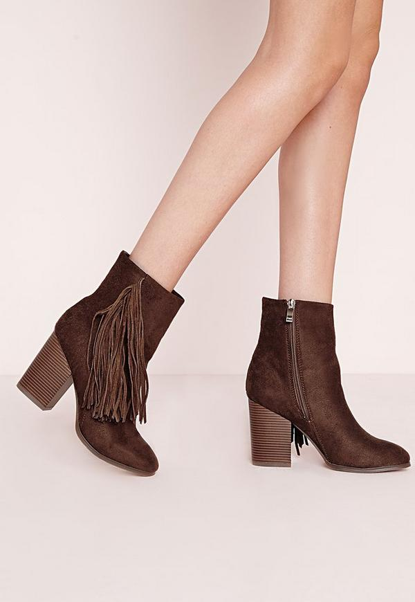 Tassel Side Ankle Boots Brown