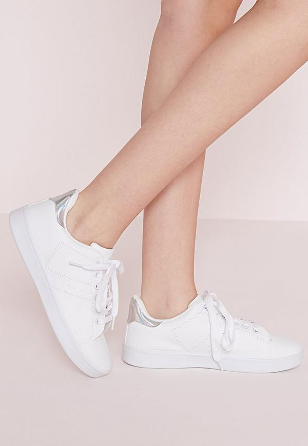 Silver Tab Tennis Trainers White