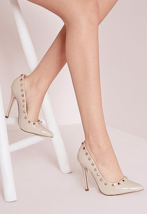 Patent Studded Court Shoes Nude