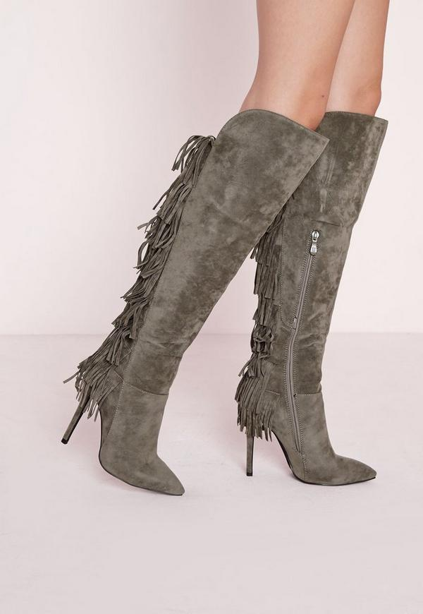 Tassel Detail Knee High Heeled Boots Khaki