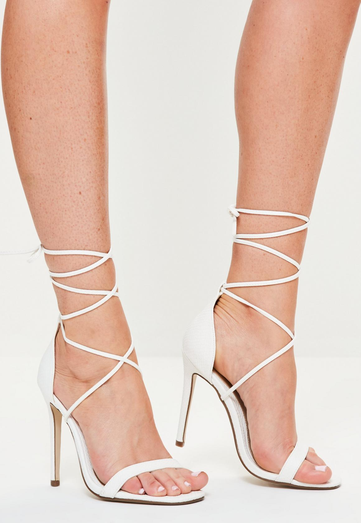 Lace Up Barely There Heeled Sandals White Croc | Missguided