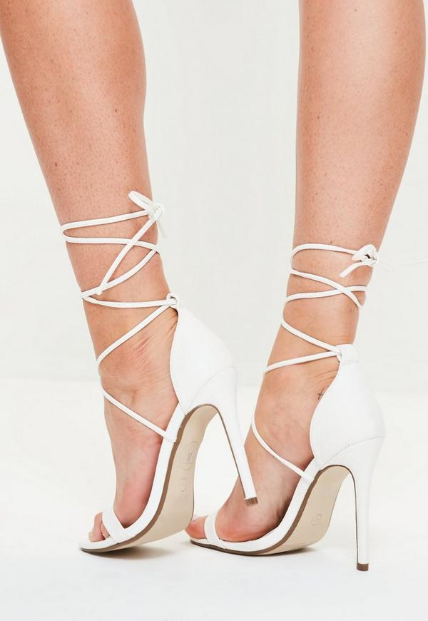 Lace Up Barely There Heeled Sandals White Croc Missguided