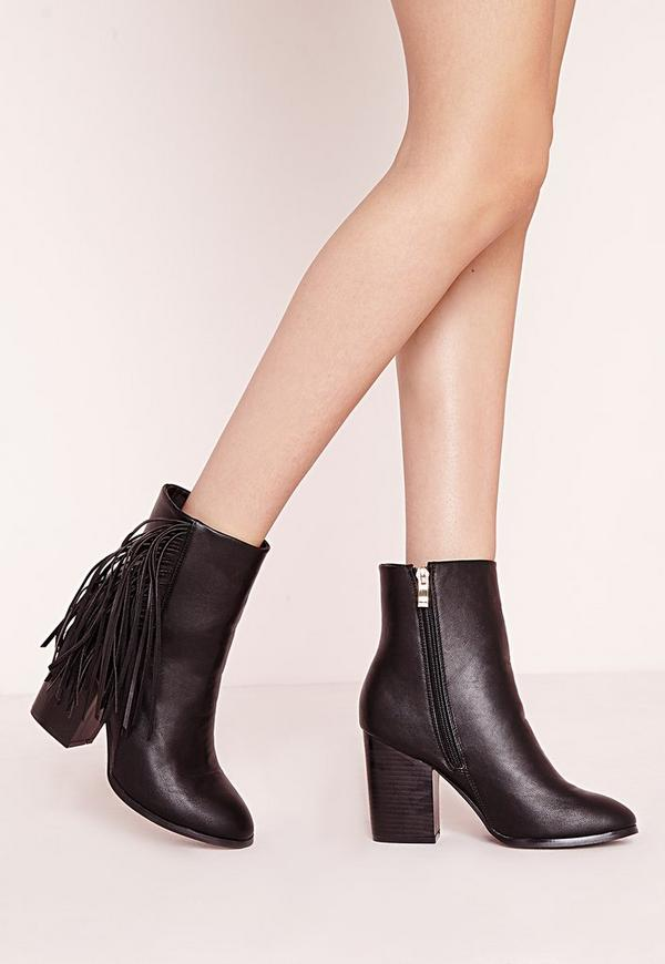 Tassel Side Ankle Boots Black Faux Leather