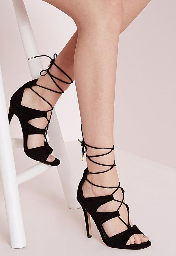 Lace Up Front Heeled Sandals Black