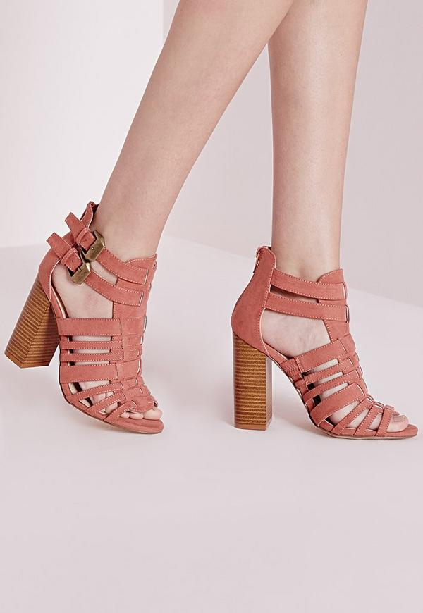 Block Heel Strappy Gladiators Pink