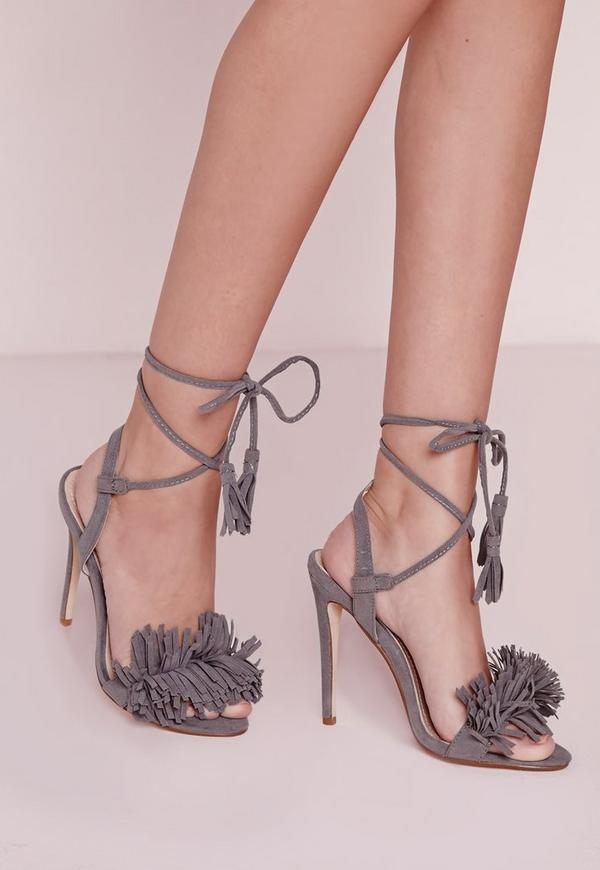 Tassel Detail Barely There Heeled Sandals Grey