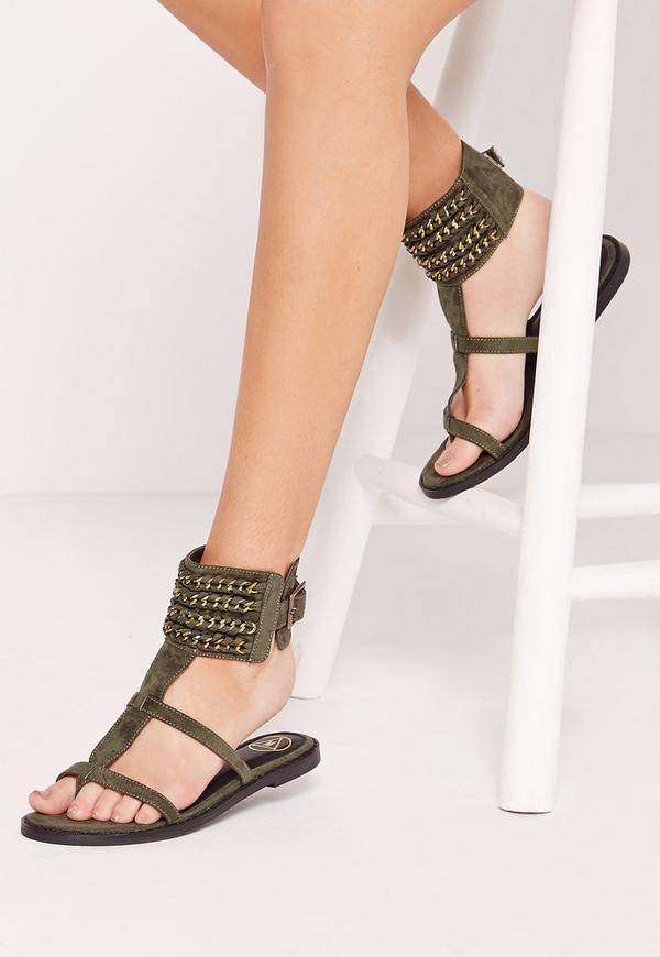 Woven Chain Ankle Cuff Sandals Khaki