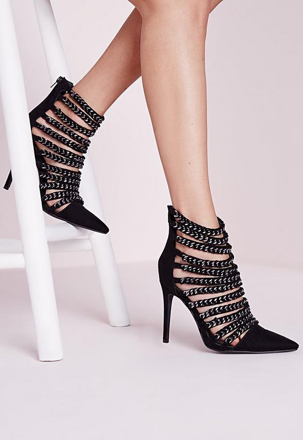Chain Strap Stiletto Heels Black
