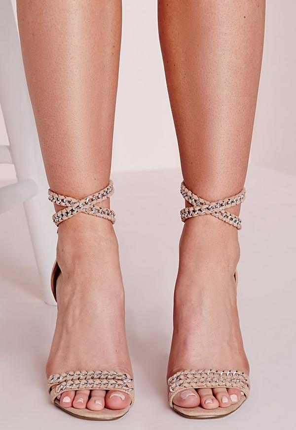 Chain Strap Barely There Heeled Sandals Pink