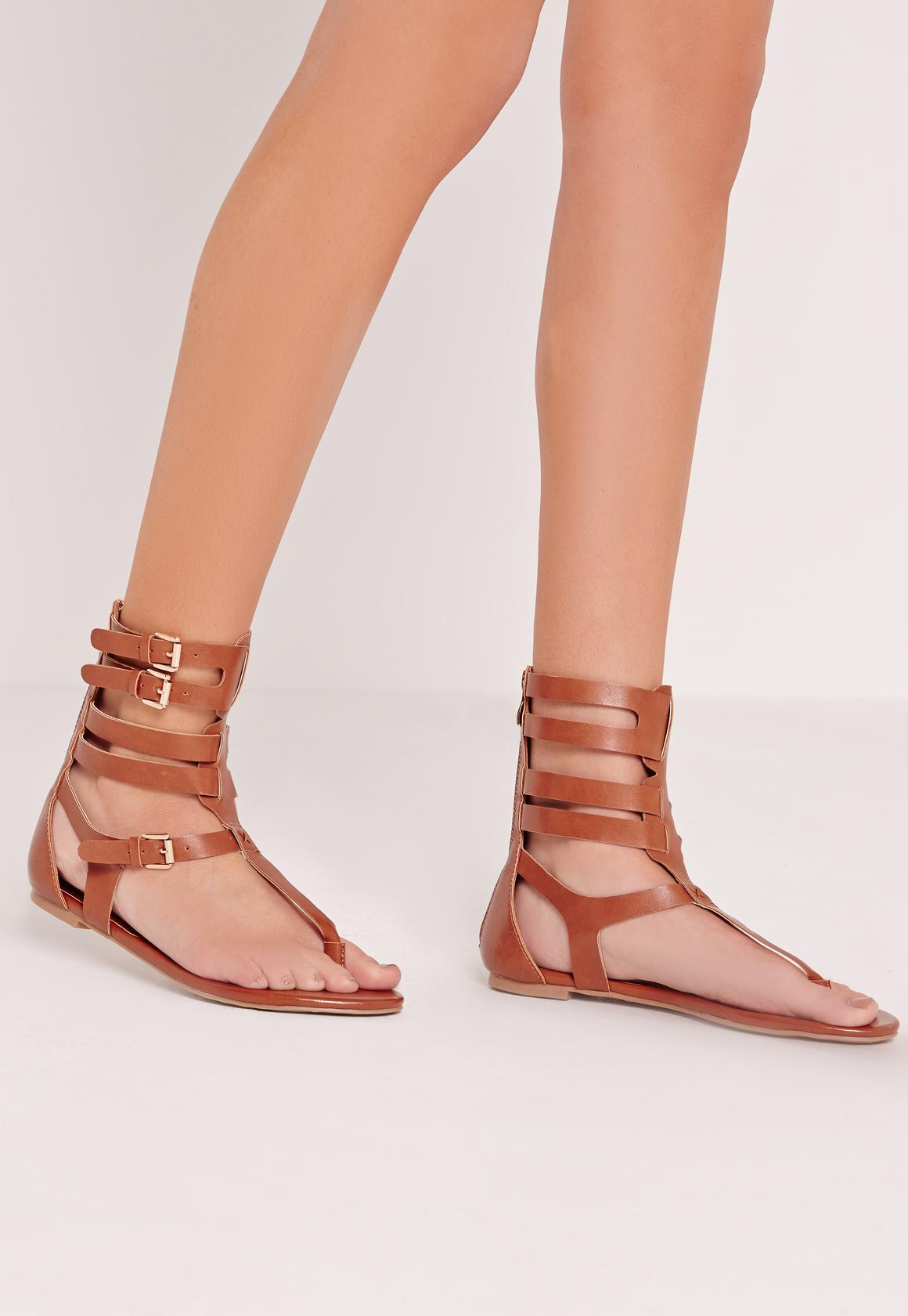 Strappy Ankle Flat Gladiator Sandals Tan