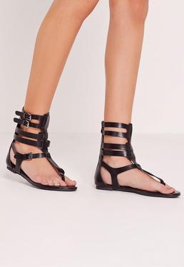 Strappy Ankle Flat Gladiator Sandals Black