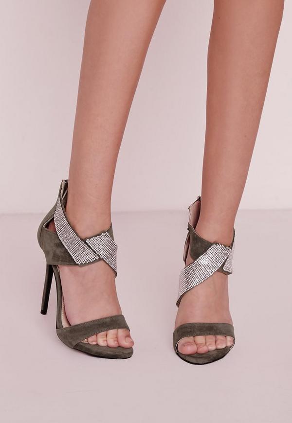 Diamante Ankle Strap Heeled Sandals Khaki