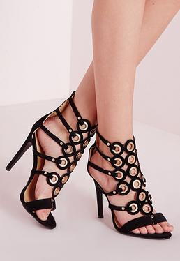 Eyelet Detail Caged Heeled Gladiator Sandals Black