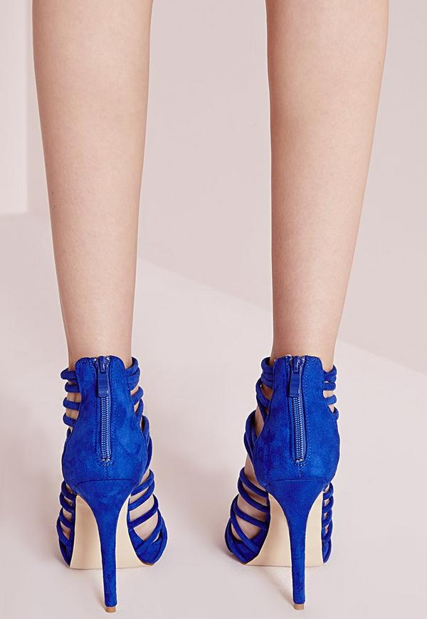 Extreme Strappy Heeled Sandals Blue   Missguided